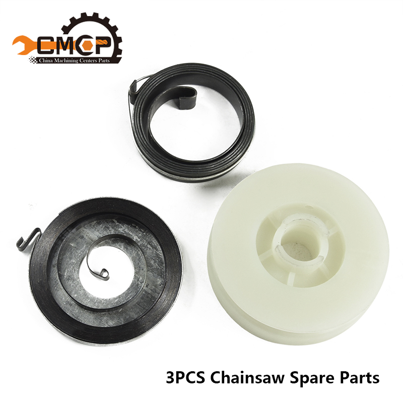 3pcs Electric Chainsaw Easy Starter Pulley With 2 Springs Fit Chainsaw 4500 5200 5800 45cc 52cc 58cc Chainsaw Spare Parts