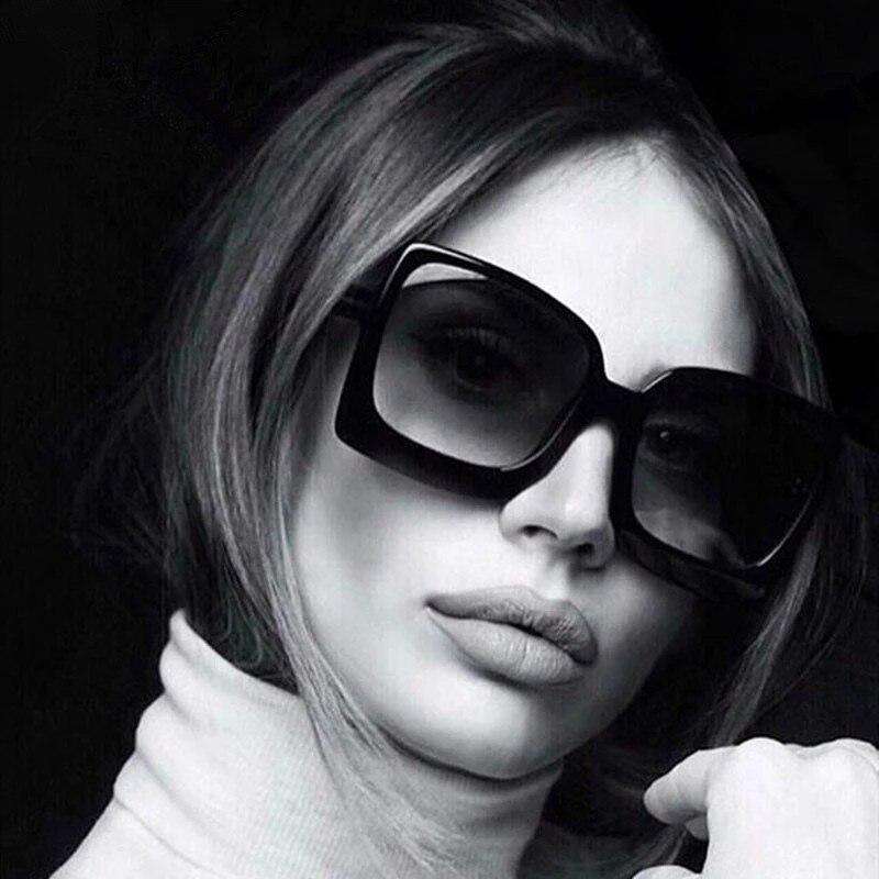 2021 grand cadre mode surdimensionné lunettes de soleil femmes marque concepteur en plastique femme dégradé lunettes de soleil gafas de sol mujer UV400   AliExpress