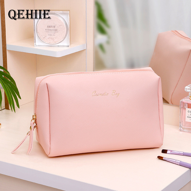 Women Cosmetic Bag For Makeup Pouch Female Portable Beauty Toiletry Travel Organizer Case Ladies Big Gold Silver Makeup Bag 2019 1
