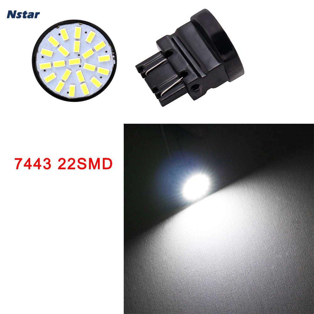 Nstar 1pc W21W W5W 22SMD 7443 LED Light Bulbs Car Clearance License Plate Dome Reading Lamp Auto Part Accessories 041