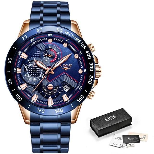 LIGE – Montre avec dessus en acier inoxydable pour homme, chronographe à quartz, de marque luxueuse, de style sportif, à la mode, horloge masculine, nouveauté 2020 6