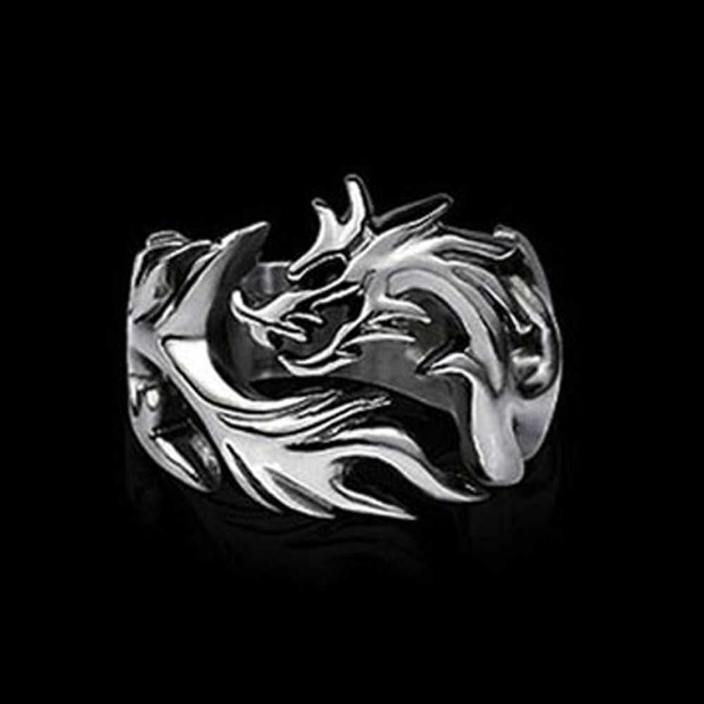 2018 ใหม่แฟชั่นเครื่องประดับโลหะ Solid ภายในแหวนมังกร Punk แหวนผู้ชาย biker แหวน Argolas