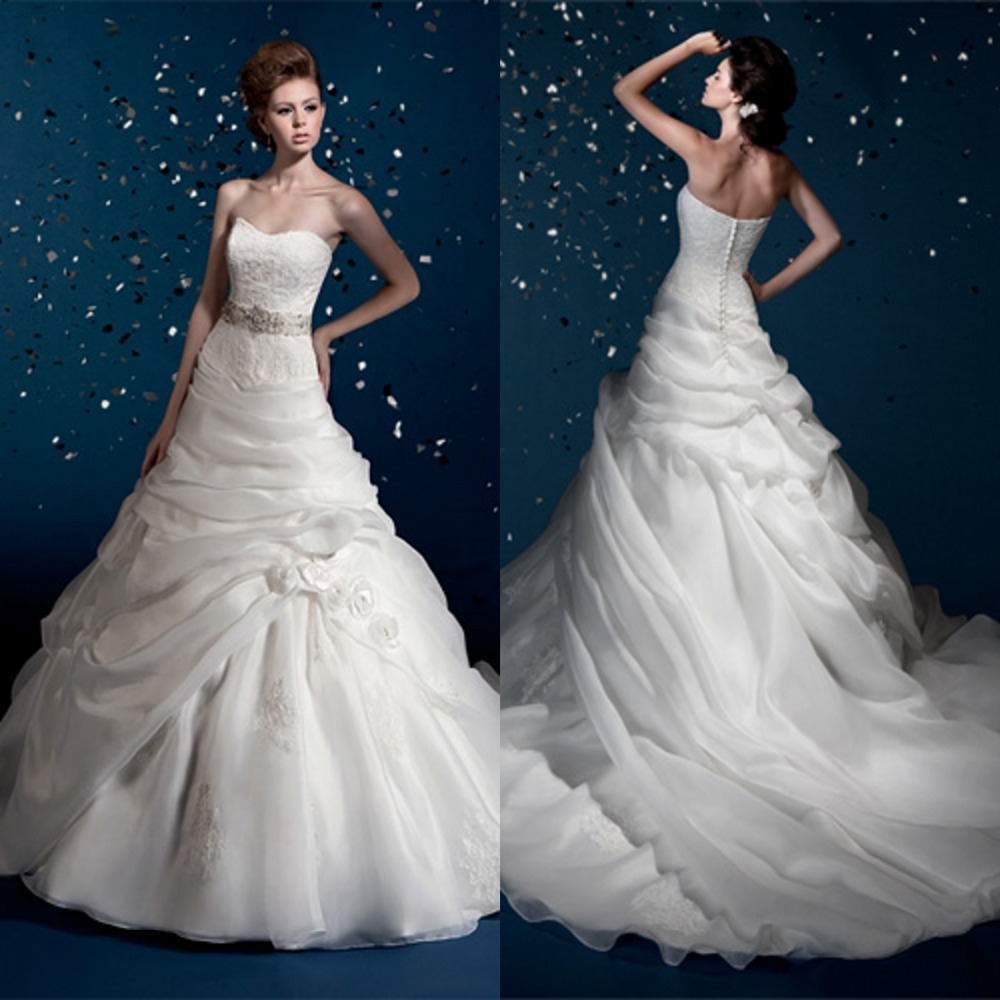 2016 Hot A-Line Sweetheart Flower Long Wedding Dress Sleeveless Floor Length Chapel Train Embroidery Bridal Gown F354