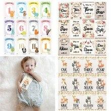 12 hojas de tarjetas de rendimiento mensual para bebé, nacimiento a 12 meses, tarjetas de momento fotográfico, Unisex, niños y niñas, recuerdo de fotos, punto de referencia