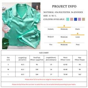 Image 5 - OOTN pyjama dété 2 pièces pour femme 2020, en soie solide, manches courtes, chemise + Short, vêtements de nuit décontracté