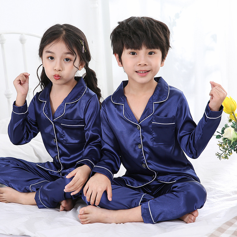 Spring And Autumn CHILDREN'S Pajamas Boy Model Silk Cardigan Suit Middle And Large Girls Viscose Long Sleeve Tracksuit
