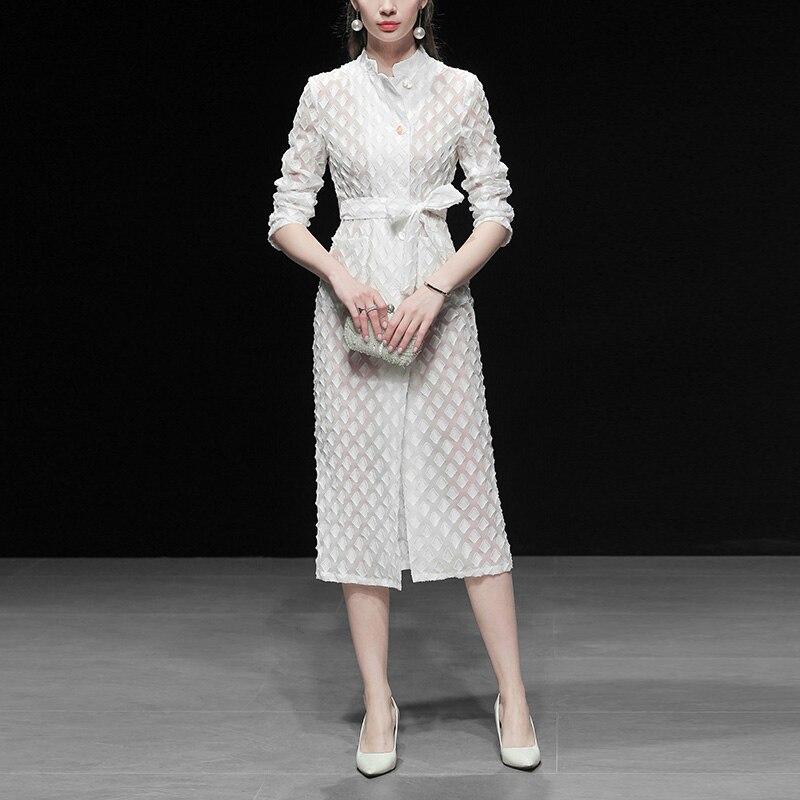 Высококачественное дизайнерское платье для подиума, женское осенне зимнее Элегантное Белое Женское офисное платье, винтажное платье миди ...