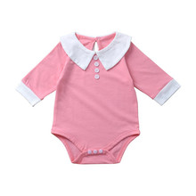 Baby Girl Clothes 2019 Autumn Seven-Point Sleeves Girls Romper Cute 'College' Lapel Rompers For Infants And Toddlers 0-2Y