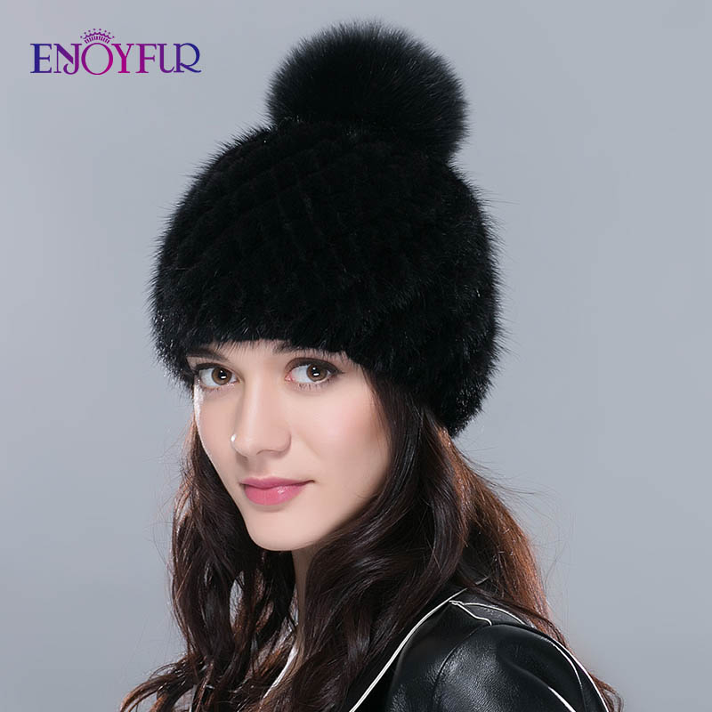 ENJOYFUR Hot Sale Real Mink Fur Hat For Women Winter Knitted Mink Fur Beanies Cap With Fox Fur Pom Poms New Thick  Female Cap