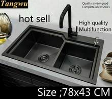 Free shipping Apartment deluxe kitchen manual sink double groove durable 304 stainless steel the black color hot sell 780x430 MM(China)