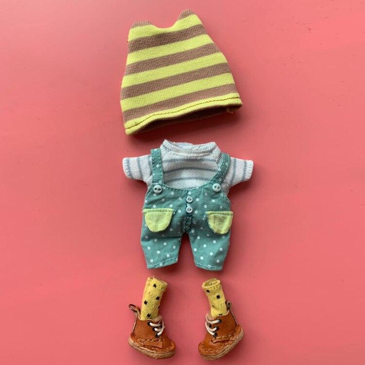 1/12 SD Bjd Doll Cloths Shirt+pants+socks+hat Suit For 1/12 Ob11 BJD Doll Accessories