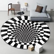 3D visual crystal velvet printed carpet home living room hallucination round place bedroom office carpet rug