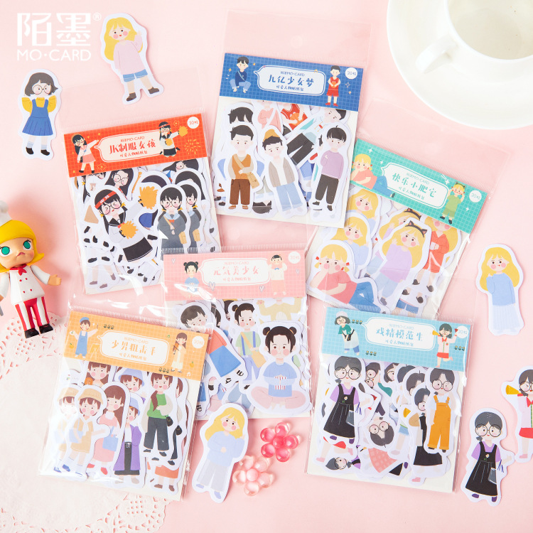 30pcs Kawaii Washi Paper Stationery Sticker Set Fashion Girls Boys Self-adhesive Stickers For Arts Craft Scrapbooking Planner