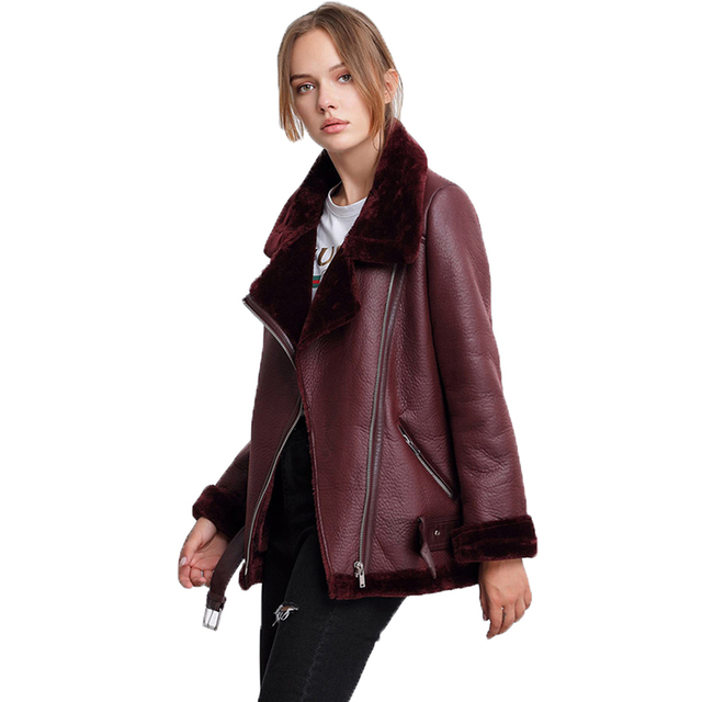 Ailegogo Winter Coats Women Thickness Faux Leather Fur Sheepskin Female Fur Leather Jacket Aviator Outwear Casaco Feminino