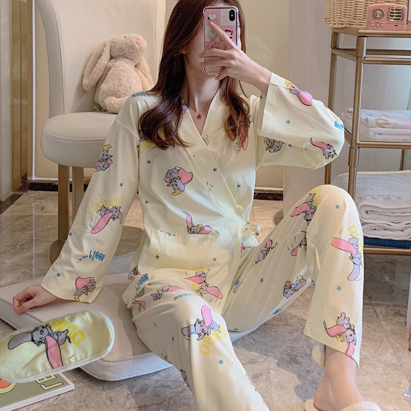 Pajamas Women's Spring And Autumn Long Sleeve Sexy Kimono Two-Piece Set Cute Dumbo Japanese-style Thin-Outer Wear Tracksuit