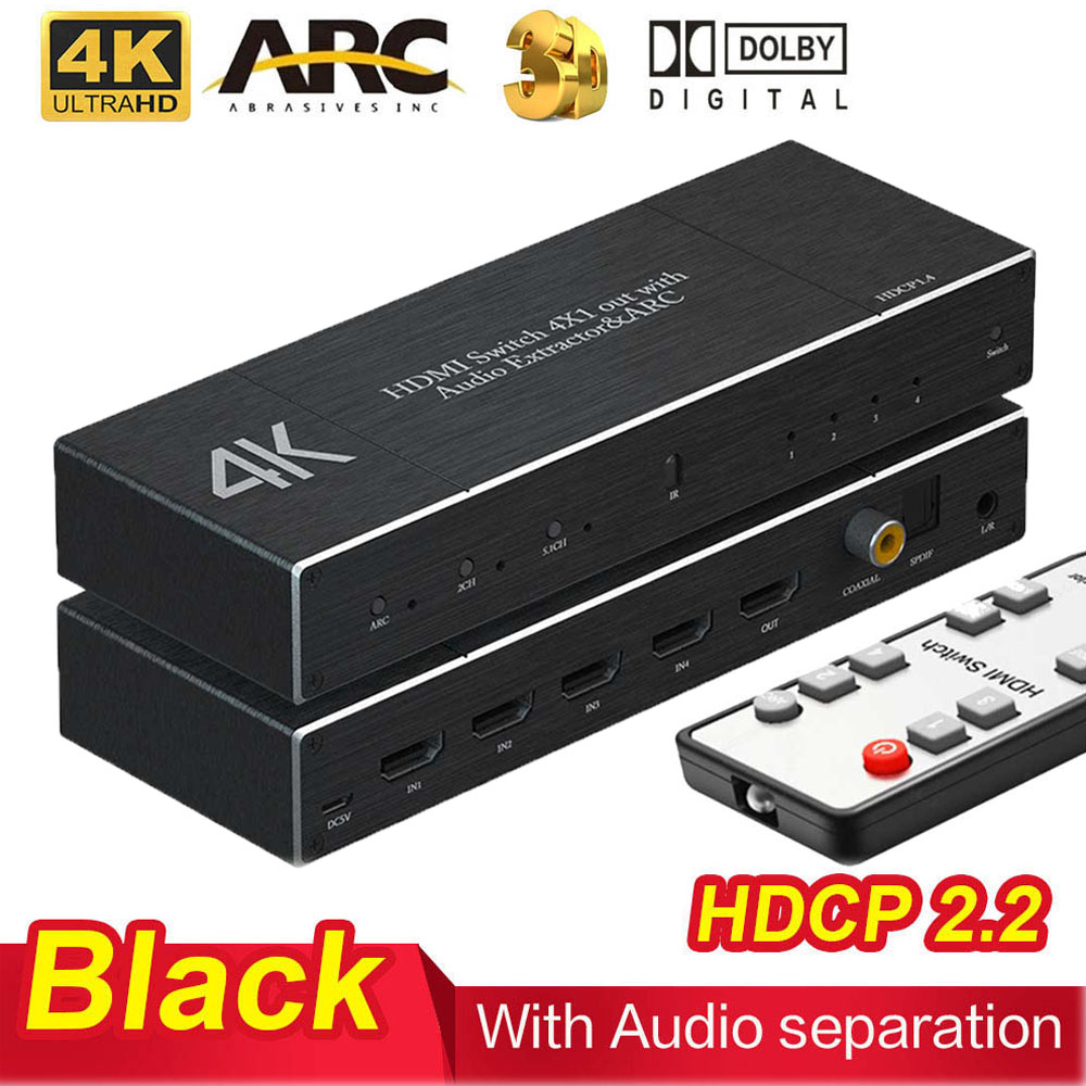 4K 60Hz HDMI 2.0 Switcher 4X1 Splitter Matrix 4 IN 1 OUT SPDIF +3.5mm Audio Extractor & ARC HDCP 2.2 With IR Remote HDMI Adapter
