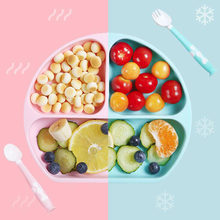 Placa de silicone do bebê integrado utensílios de mesa das crianças suplemento alimentar tigela crianças antiderrapante ventosa bandeja pratos de alimentação do bebê