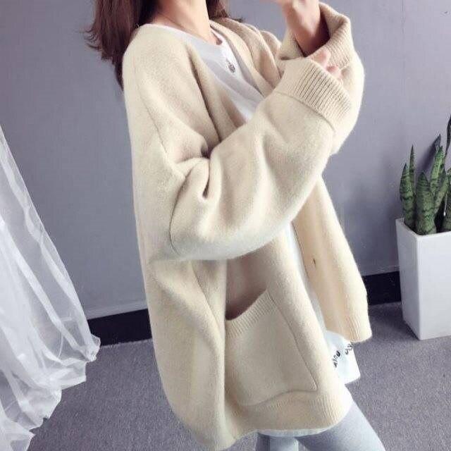 2019 Fashion Basic Women Knitted Cardigans Tide Solid Loose Casual Long Sleeve Elegant Sweaters Coat Female Jacket