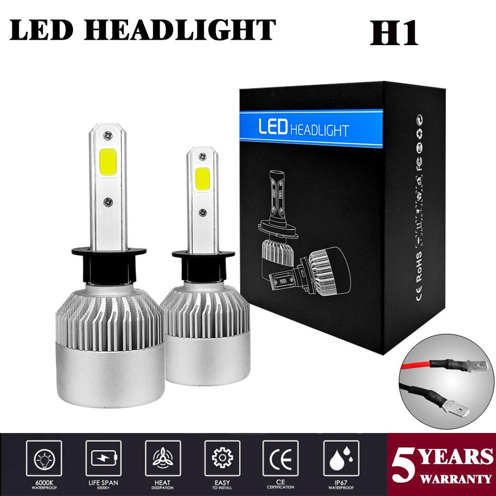 1 пара, Автомобильные светодиодные лампы H1 S2 H1 COB 36 Вт 8000 лм