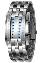 Men's Alloy Date Digital LED Bracelet Wrist Watch(Blue LED/Silver Bracelet) shifenmei 1091 casual zinc alloy case pu band digital led wrist watch yellow silver