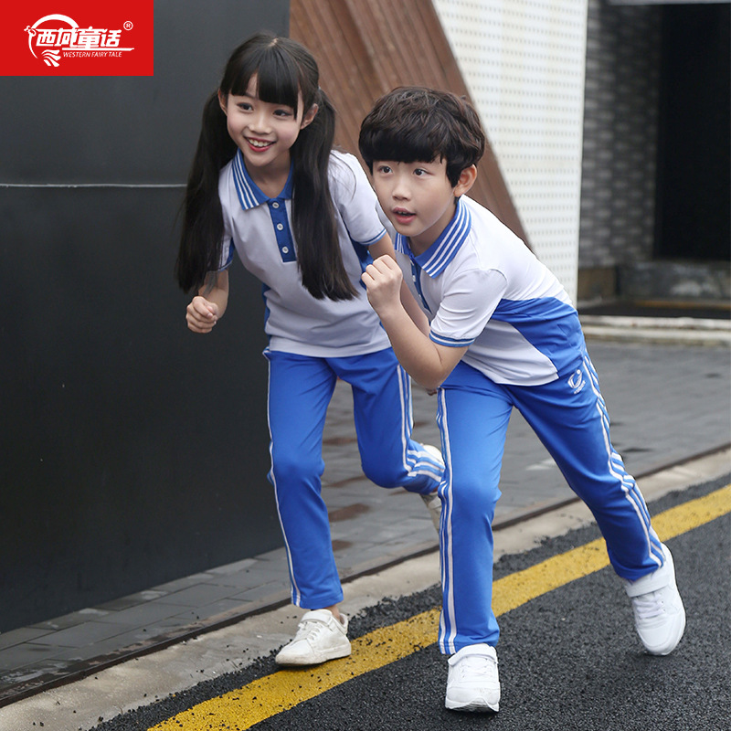 Xi Yu Tong Hua Summer New Style Short Sleeve Shenzhen School Uniform Kindergarten Suit Primary School Uniform Business Attire