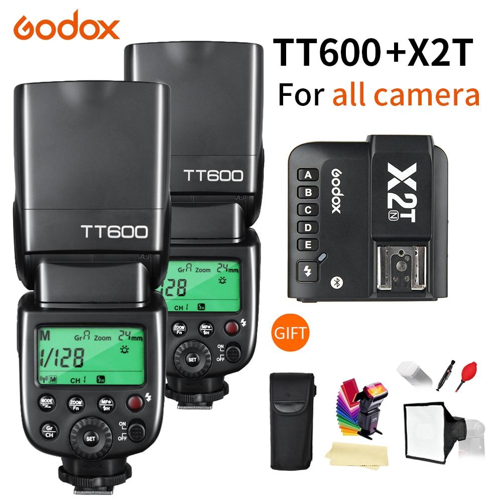 2X Godox TT600 TT600S 2,4G беспроводной TTL 1/8000s Вспышка Speedlite + X2T-C/N/S/F/O/P триггер для Canon Nikon sony fuji olympus