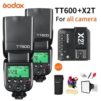 2X Godox TT600 TT600S 2.4G Wireless TTL 1/8000s Flash Speedlite + X2T-C/N/S/F/O/P Trigger for Canon Nikon sony fuji olympus meike mk 300 mk300 mk 300s lcd i ttl ttl speedlite flash light for sony