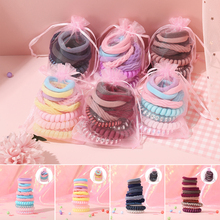 New 12Pcs/Bag Mixed Elastic Nylon Hair Bands For Women Girls Rubber резинки для волос With Bag Hair Accessories Headdress Gifts