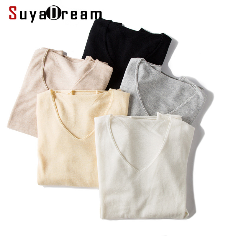 SuyaDream Women 100%Wool V Neck Pullovers Solid Soft Wool Sweaters 2020 Spring Bottoming Knitwear