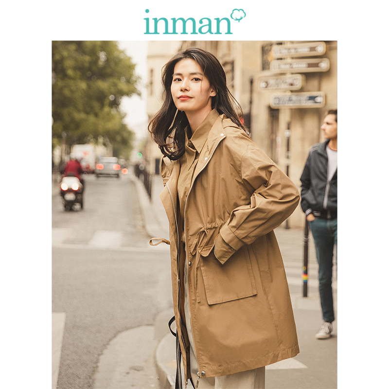 INMAN Spring Autumn Casual Hooded Literary Deep Khaki Drop-shoulder Fashion Women Coat
