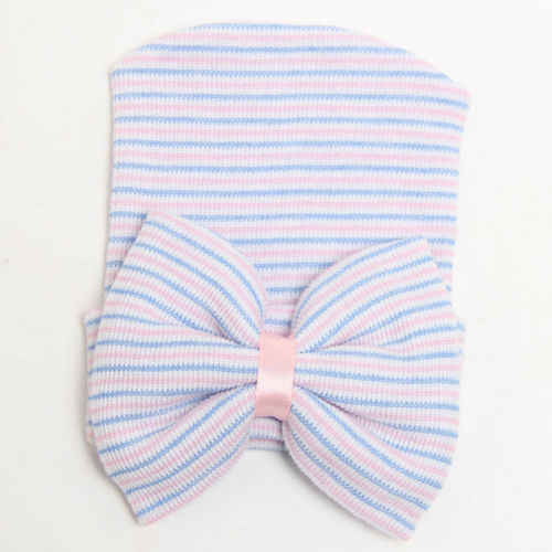 Emmababy ทารกแรกเกิดทารก Striped Headband Headwear เด็กวัยหัดเดินหมวก Beanie นุ่มโบว์