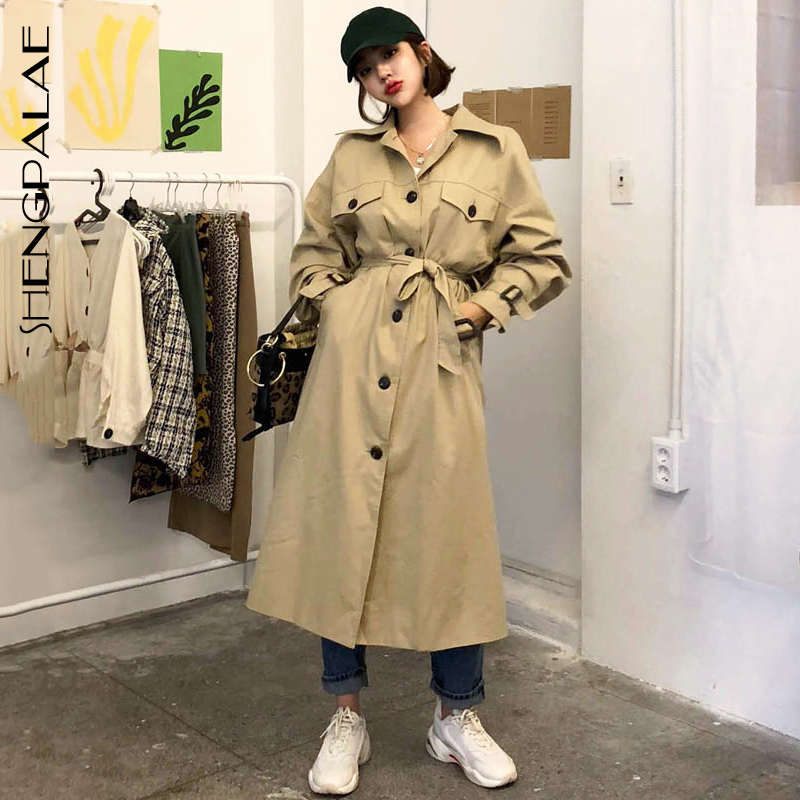 SHENGPALAE Khaki Turn-down Collar With Sashes   Trench   Temperament Women Loose Coat New Winter Autumn 2019 Korean Style FS570