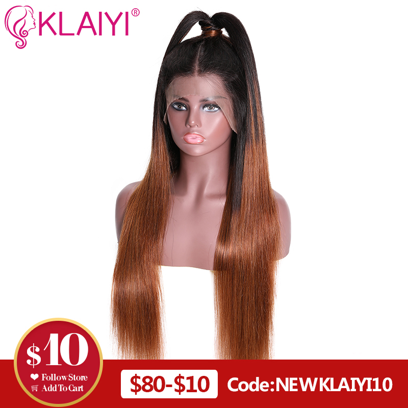 Klaiyi Hair Straight 13*6 Inch Lace Front Wigs T1B/4 Ombre Human Hair Wigs With Baby Hair 12