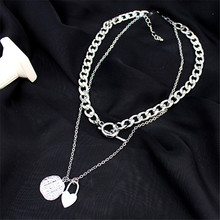 Necklace Multilayers Punk Chains Necklace Metal Pendant Necklaces Gold Fashion Street Hip Hop Geometric Couple for Women Trendy buckle necklaces for women 2020 jewelry punk thick chain clavicle chains necklace metal couple hip hop gold color necklace