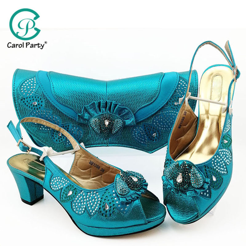 Latest Italian Shoes with Matching Bags Set Decorated with Women Shoes mid Heel African Shoes and