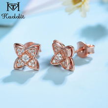 Stud-Earrings 925-Sterling-Silver Rose-Gold-Color Kuololit Clovers Jewelry Women Four-Leaf