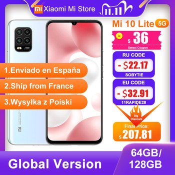 Global Version Xiaomi Mi 10 Lite 5G Smartphone 6GB 64GB 6.57