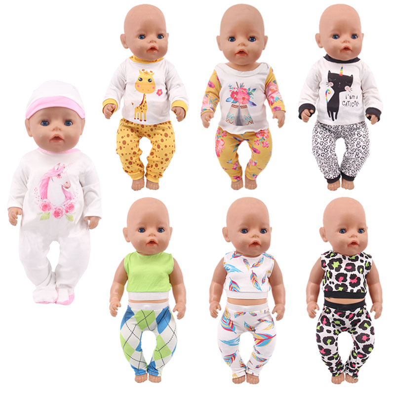 Doll Clothes Unicorn Kitten Giraffe Leopard Pajamas For 18 Inch American&43 Cm Baby New Born Doll Generation Birthday Girl`s Toy