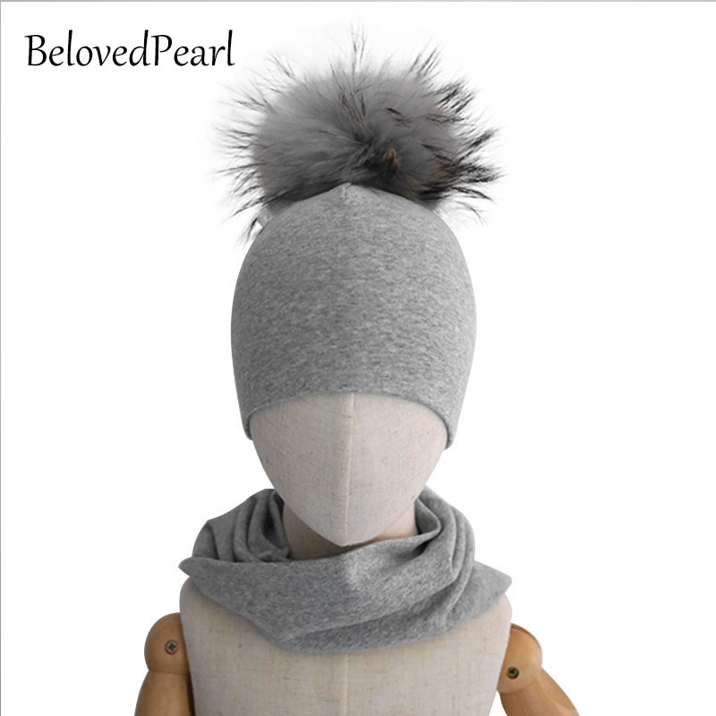 1-5Y Kids Hats And Scarves Set For Girls With Big Real Raccoon Fur Pompoms Boys Beanie Hats And Neckwear Sets