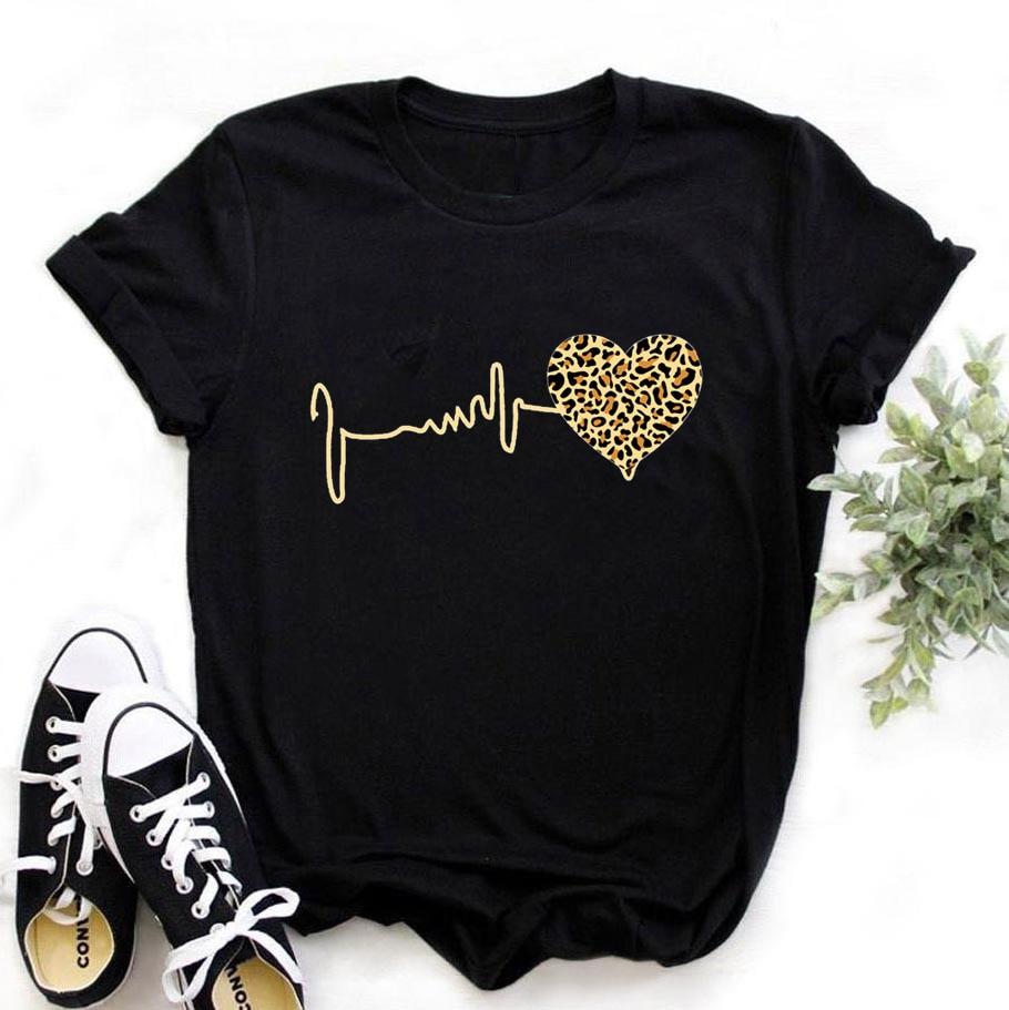 Summer New 90 's Leopard Heartbeat Short Sleeve Print Clothing Womens T-Shirt Harajuku Graphic Clothing Womens Top,Drop Ship