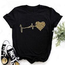 Été Nouveau 90 Léopard Coeur Manches Courtes Impression Vêtements femmes T-Shirt Harajuku Graphique Vêtements Top pour Femme, Livraison Directe