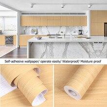 PVC Wallpaper Stickers Furniture Wood-Grain Self-Adhesive Floor-Door Kitchen Waterproof