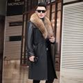 Autumn new men's leather coat large size long large coat jacket European and American tide black jacket