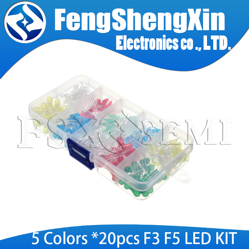 200PCS/Lot 3MM 5MM Led Kit With Box Mixed Color Red Green Yellow Blue White Light Emitting Diode Assortment 20PCS Each F3 F5