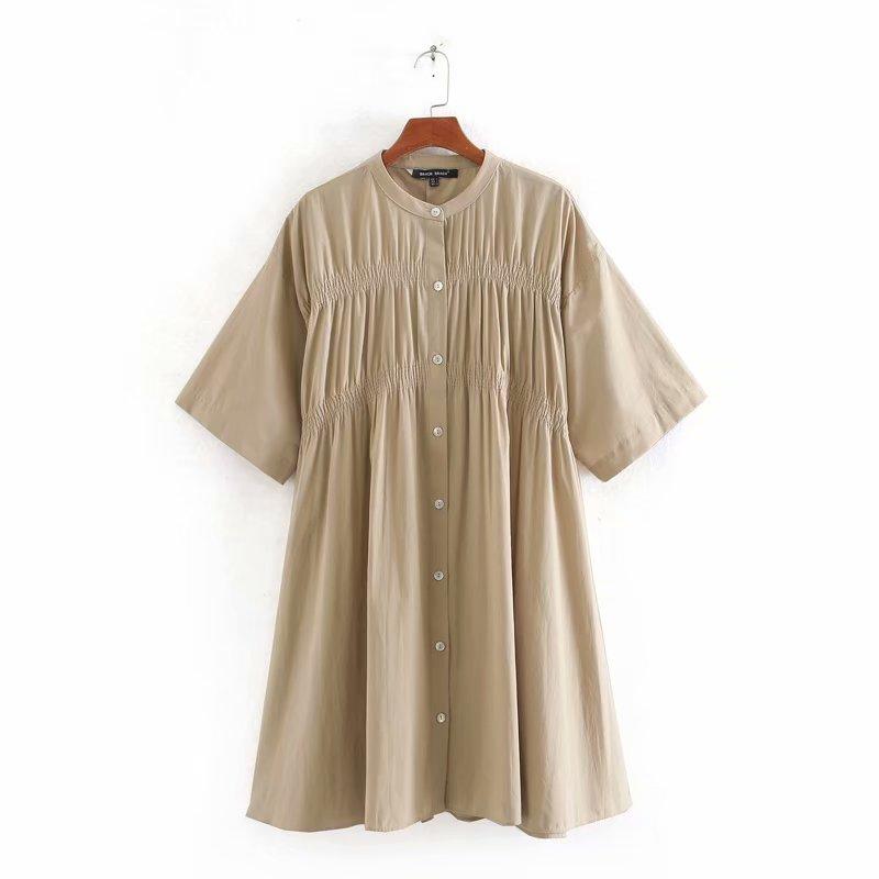 2020 New women o neck short sleeve solid poplin straight mini shirtdress women chic press pleated vestidos casual dresses DS3493