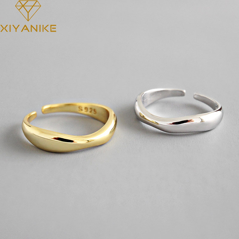 XIYANIKE 925 Sterling Silver Irregular Wave Rings Trendy Simple Geometric Handmade Jewelry for Women Couple Size 17mm Adjustable 1