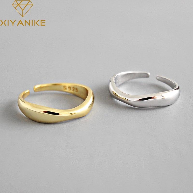 XIYANIKE 925 Sterling Silver Irregular Wave Rings Trendy Simple Geometric Handmade Jewelry For Women Couple Size 17mm Adjustable