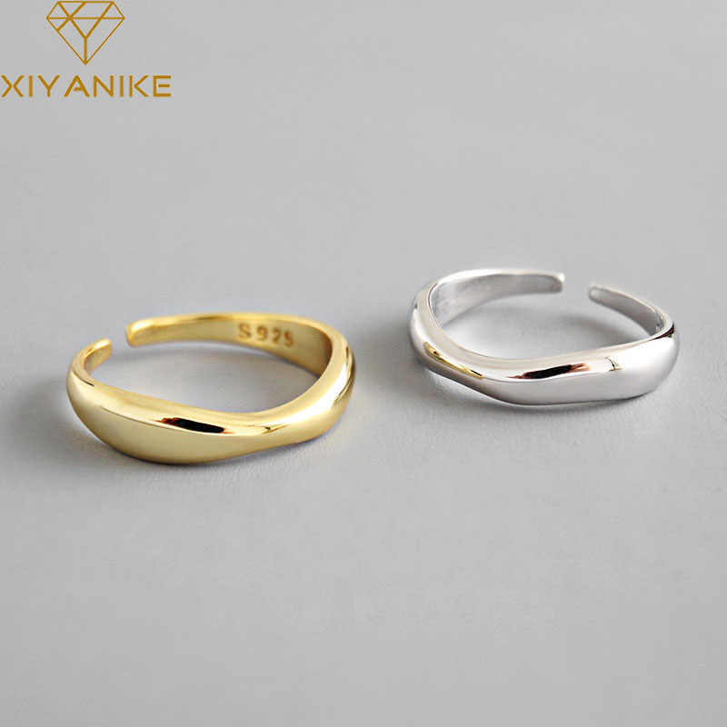 Xiyanike 925 Sterling Silver Tidak Teratur Gelombang Cincin Trendi Geometris Sederhana Buatan Tangan Perhiasan untuk Wanita Beberapa Ukuran 17 Mm Disesuaikan