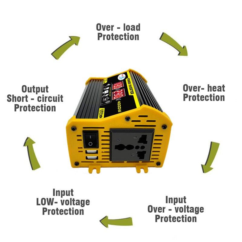 Car Inverter 12V 220V 300W Max Power Inverter Voltage Convertor Transformer 12V To 220V Inversor + LCD Display 2 USB