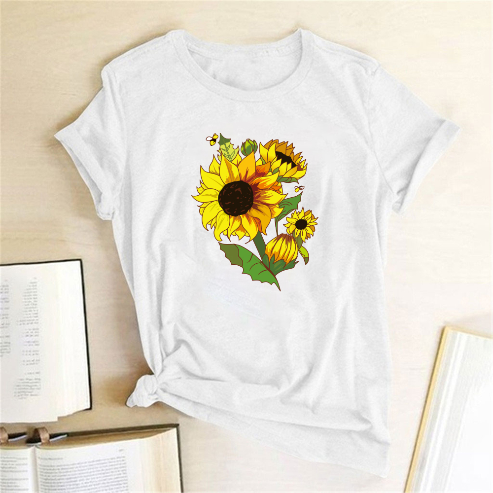 Sunflowers Printing T-shirts Women Clothing Summer Tops for Women Fashion Woman Clothes Casual Harajuku Shirt Mujer Camisetas